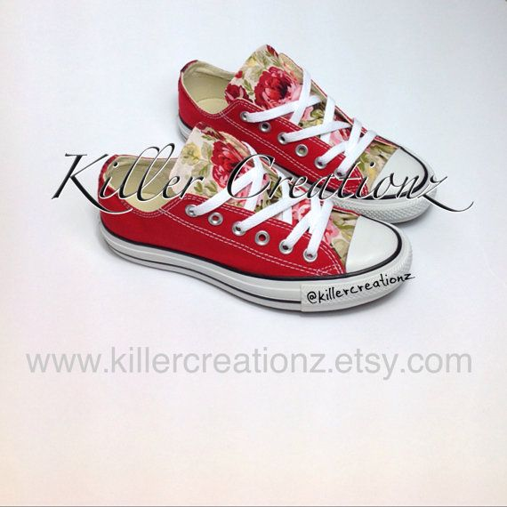 Custom Floral Converse for kids any size made by KillerCreationz