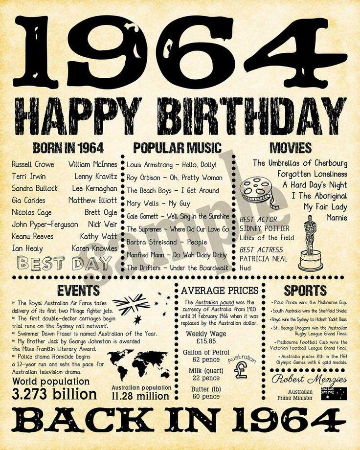 56th birthday 1964 birthday gift back in 1964 australia