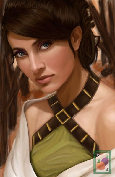 Portrait exclusive use of client. A half-elf ranger character portrait who is a bit of a misanthrope, for use by the client in Paizo's Pathfinder Society. Date: May 2012 Media: Digital painti...