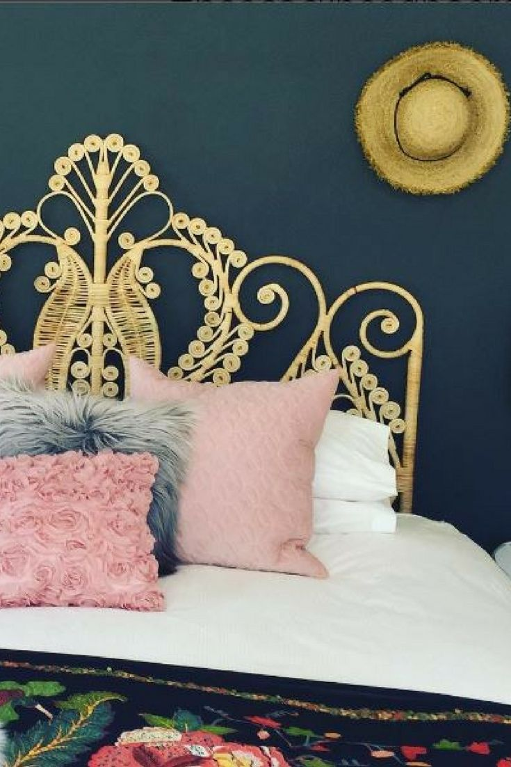 Bedroom décor ideas | Peacock headboard | Natural rattan | Boho styling | Blush pink décor accents | Beautifully styled by Gillian Liebenberg #wishtankworthy ♥