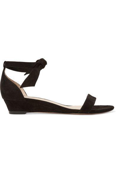 Alexandre Birman - Atena Bow-embellished Suede Wedge Sandals - Black - IT39.5