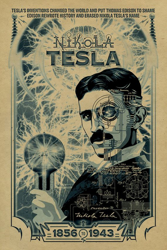 12x18 on 65# cover weight kraft paper    A tribute to Nikola Tesla. Tesla was born in 1856, reportedly during an electrical storm. In 1881 he