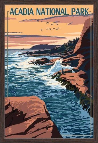 Acadia National Park Maine Mount Desert Island Lantern Press Artwork 24x36 Giclee Art P National Park Posters Vintage National Park Posters Desert Island