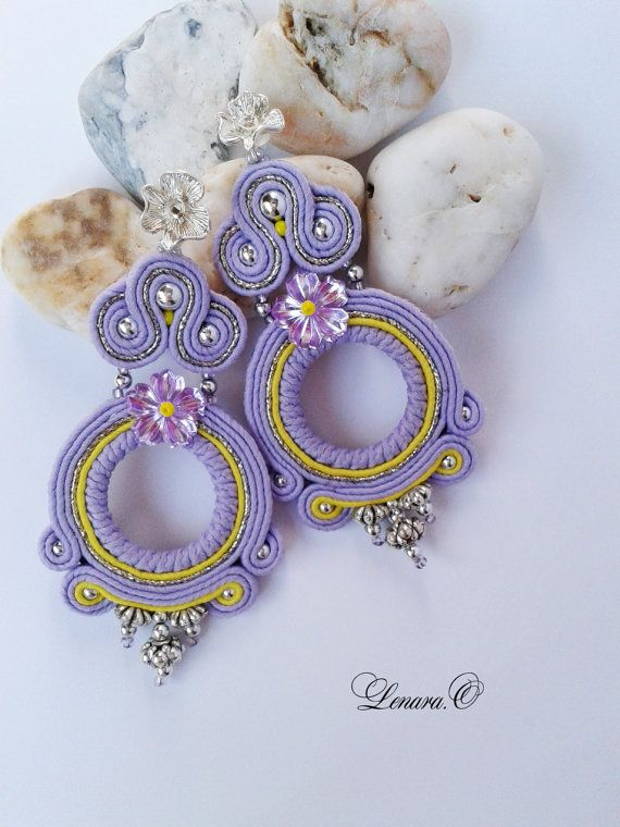 Soutache Earrings lilac, light yellow (lemon), silver colors. Round earrings. Long earrings.