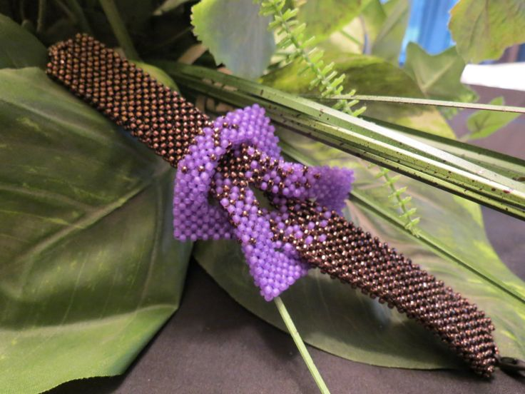 purple and bronze right angle weave bracelet by ShelzBeadedJewelz on Etsy