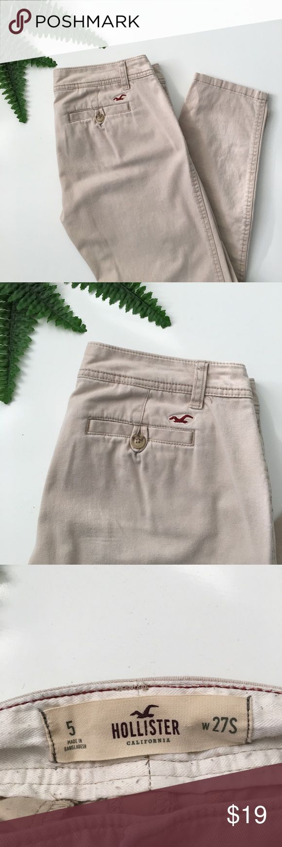 "HOLLISTER Boyfriend Fit Khaki Pants Gently used condition with no stains or holes. Inseam: 27"". Rise: 8 1/2"". Leg opening: 5 3/4"". Perfect pants to roll up with t-shirt and converse. Must have for every wardrobe. Ask any questions before purchasing. Hollister Pants Trousers"