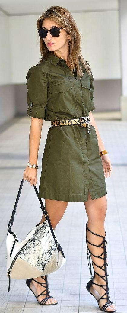 Army Green Dress Urban Safari Style