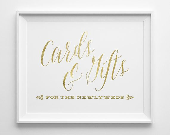 Wedding Signs, Wedding Cards and Gifts Sign, Gift Table Sign, Matte Gold and White Wedding Reception Sign, Script Wedding Card Sign, WS1G