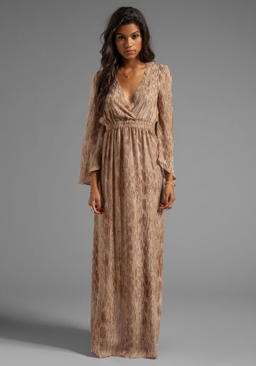 Love Shack Fancy Long Sleeve Maxi Dress in Tan Watersnake