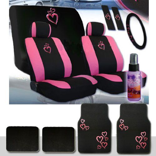 Yupbizauto Brand 16 Pieces Universal Heart Design Car Seat Covers Set With Front And Rear Steering Wheel Cover Belt Floor Mat