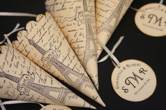 French Wedding Favor Cones with Custom Monogram Tag, Paris Theme, Petal Toss Cones, Candy and Treats, Eiffel Tower