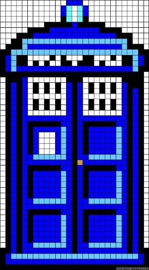 Doctor Who TARDIS perler bead pattern by della
