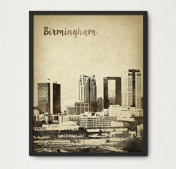 Birmingham Alabama Watercolor Wall Art Print - Birmingham Skyline Travel Poster - Aged Rustic Birmingham Cityscape United States