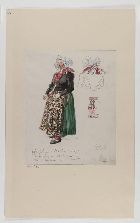 """Akvarellerad handteckning av J W Wallander. Kvinnodräkt från Järna, Dalarna. Text: """"Gifta kvinnor i Bröllops drägt"""" [---]. Nordiska museets…"""