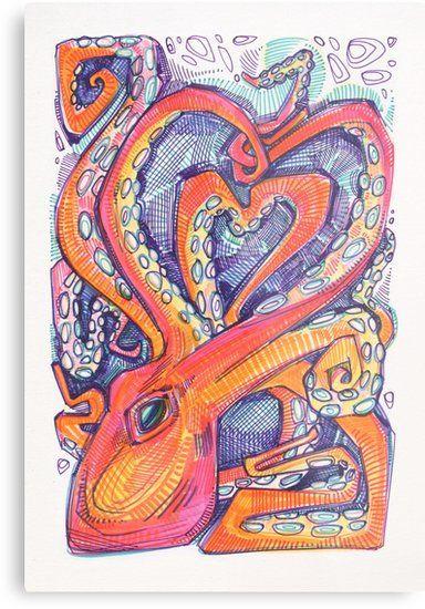 Octopus heart drawing - 2017 by Gwenn Seemel