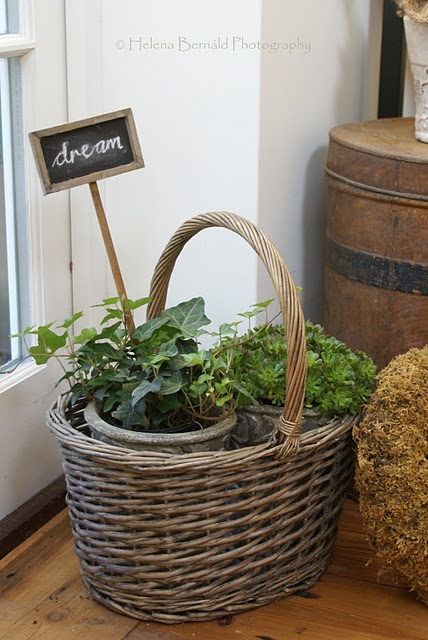 Use interesting baskets to hold pots