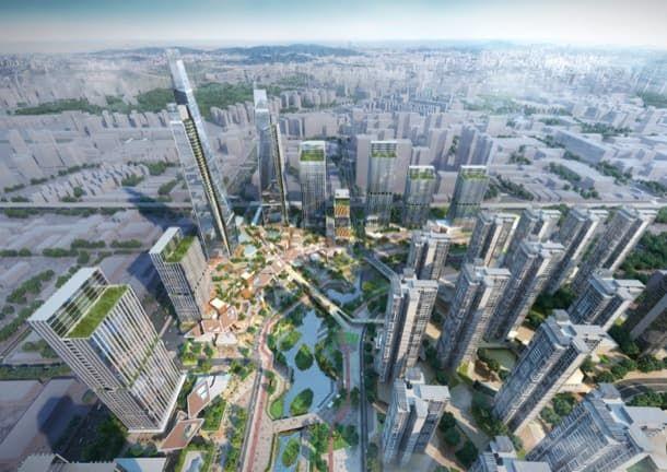 Longgang Longteng: plan urbano para Shenzhen. El estudio de Woods Bagot desarrolló el plan urbanístico Longgang Longteng, para la ciudad china de Shenzhen. El proyecto revitaliza un río serpenteante. Crea un importante grupo de torres residenciales, con podios comerciales en la base, conectados a espacios públicos, y en diferentes niveles. También incluye uso de oficinas, y un importante centro comercial conectado con la estación de metro.  #Urbanismo