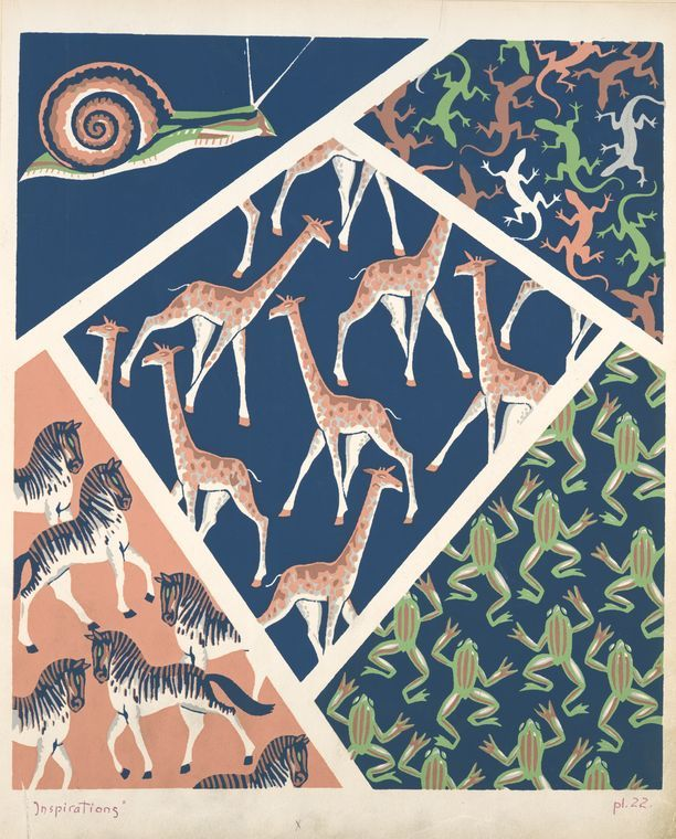 Five animal form compositions : snail, iguanas, giraffes, zebras, frogs. Durenceau, André, 1904