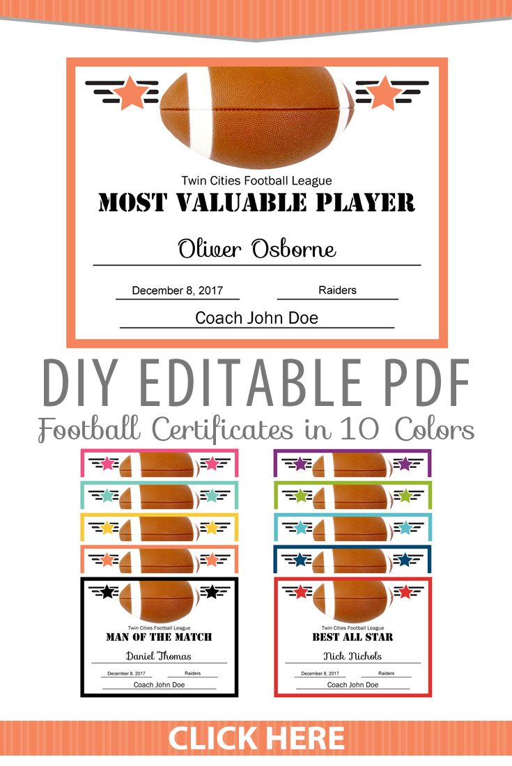 Editable Pdf Sports Team Football Certificate Award Template In 10