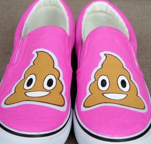 You haven't seen whimsical footwear until you've seen these poop emoji slip-ons.