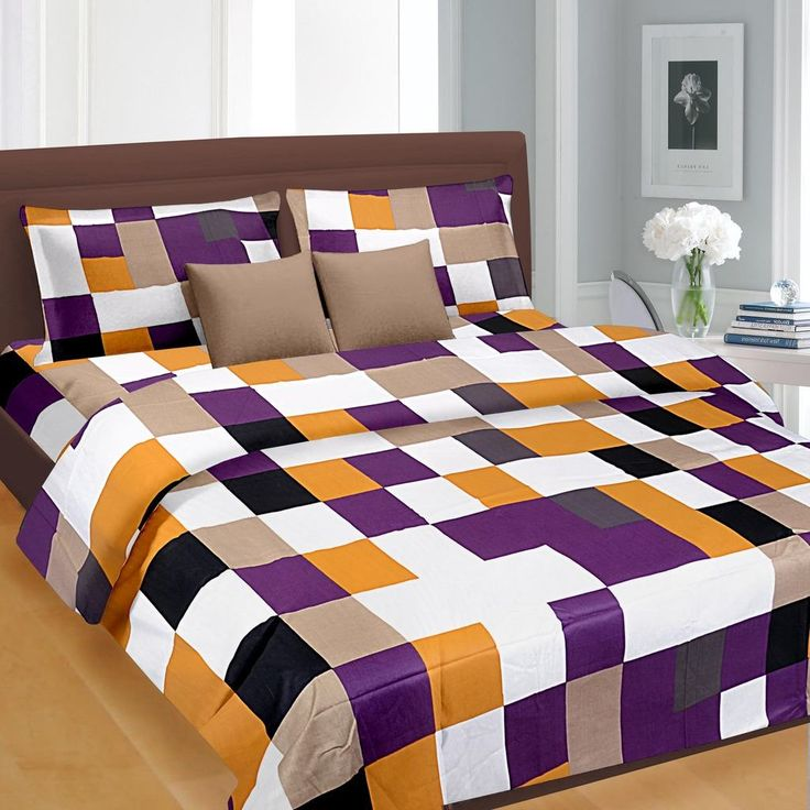 Charmant Blue Check Pattern Double Bed Sheet   U20b9699.00 King Size Double Bed Sheets  Online India