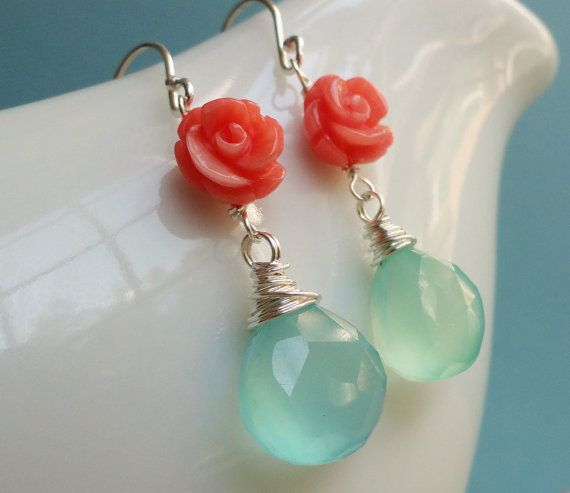 Turquoise & coral Earrings, Aqua and coral jewelry, sterling silver, bridal jewelry, salmon, teal, tangerine, tiffany blue earring