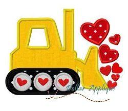 Valentine Bulldozer Applique - 3 Sizes! | What's New | Machine Embroidery Designs | SWAKembroidery.com Dollar Applique