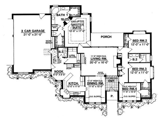 The Franklin Lake European Home has 4 bedrooms, 2 full baths and 1 half bath. See amenities for Plan 030D-0071.