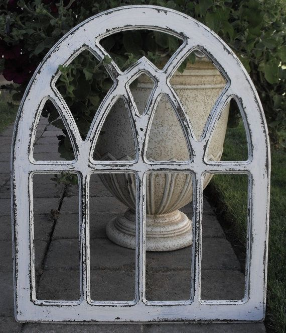 This Distressed Round Top Gothic Arch Window Is A Off White With Stain Under It Color Changes