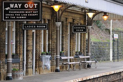 Grade 2 listed Hebden Bridge railway station which was fully restored to the old traditional Lancashire and Yorkshire railway appearance with traditional signage