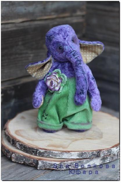 Слоня - сиреневый,фиолетовый,зеленый,тедди,слоник,подарок,сувенир,коллекционная игрушка
