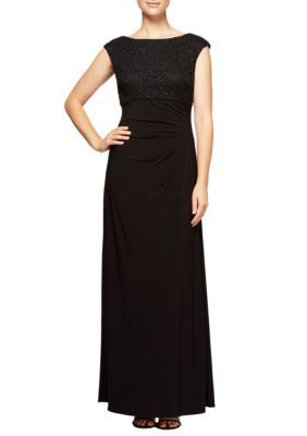 Alex Evenings Women's Empire Waist Dress - Black - 14