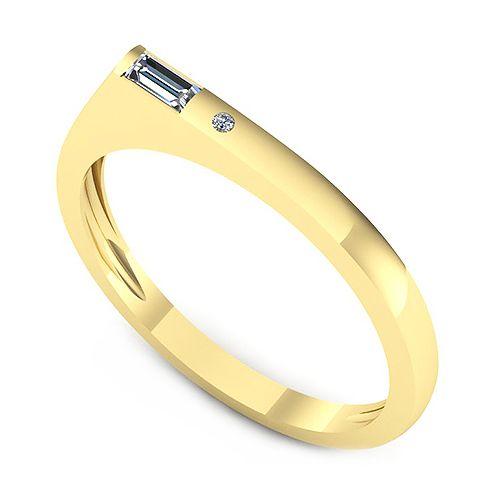 Inelul este format din:  * Piatra principala: 1 x diamant, dimensiune: ~3.50x1.50mmmm, greutate: 0.06ct , culoare: G, claritate: VS2, taietura: very_good, forma: straight_baguette; * Pietre secundare: 1 x diamant, dimensiune: ~1.00mm, forma: round