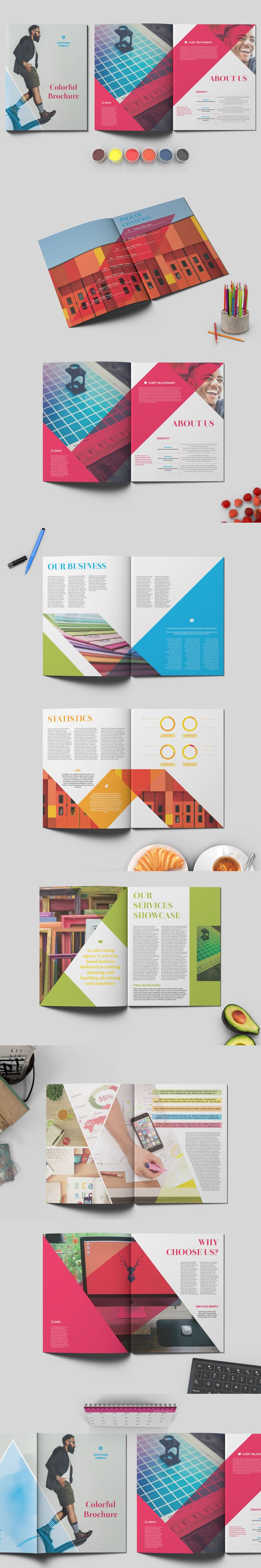 Colorful Business Brochure Template InDesign INDD - 16 Pages