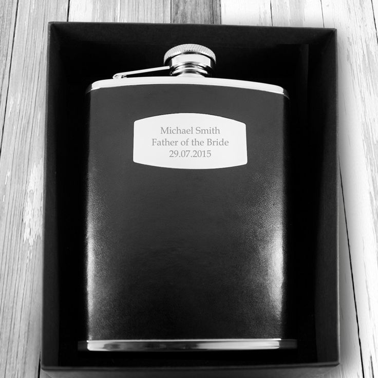 Personalised Black Leather Hip Flask Engraved With Your Own Personal Message Fast Uk Delivery