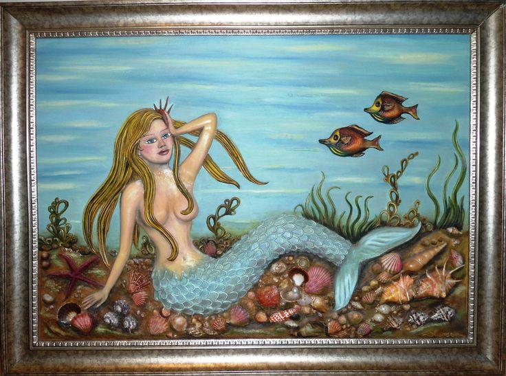 """""""DENİZKIZI"""" Deniz kabuklarıyla seramik hamurunun buluşması.. rölyef üzeri yağlıboya özgün tablom... 90x120cm."""