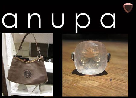 Metalic bronze samara bag with rose quartz ring. Designed and sold by anupa.net