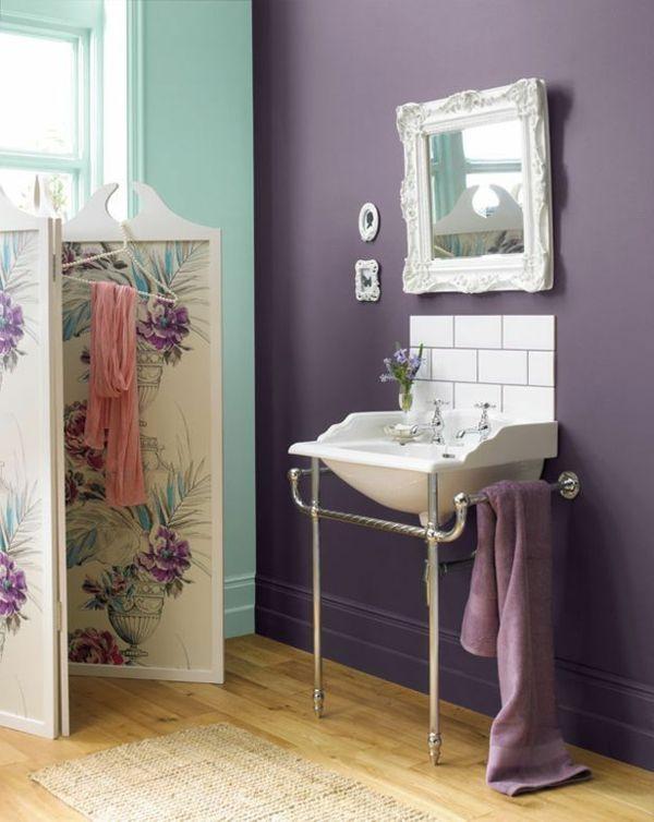 farbgestaltung schlafzimmer bett wandfarbe lila Colors Pinterest