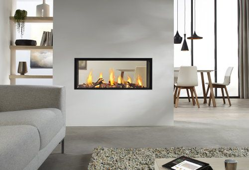See Through Fireplaces -  See Through #Fireplace Metro Series by DRU & Control App - Gaz Fireplaces as Room Divider