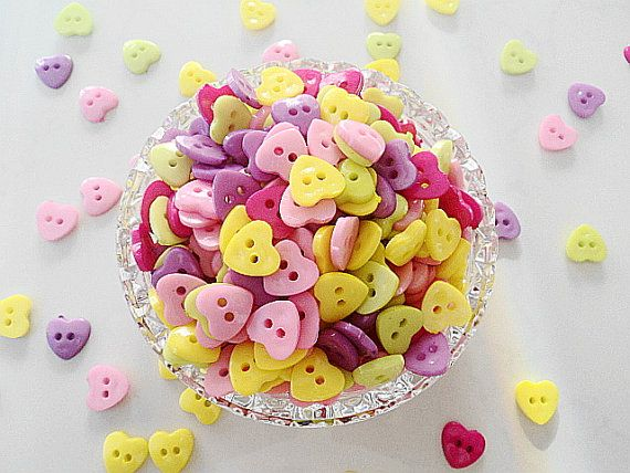 Heart Buttons 50 Plastic Heart Buttons 12mm. by TheButtonSisters