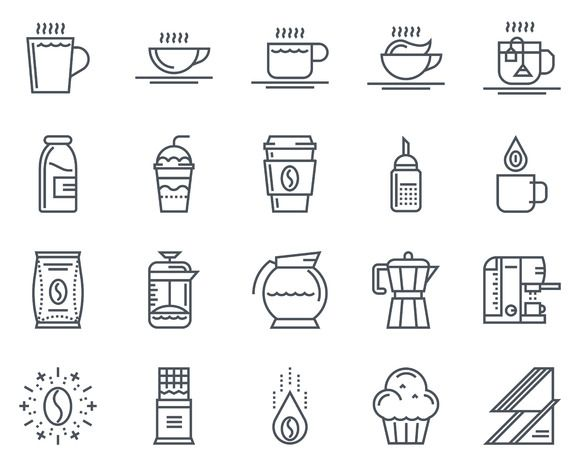 Coffee icon set suitable for info gr by howcolour on @creativemarket