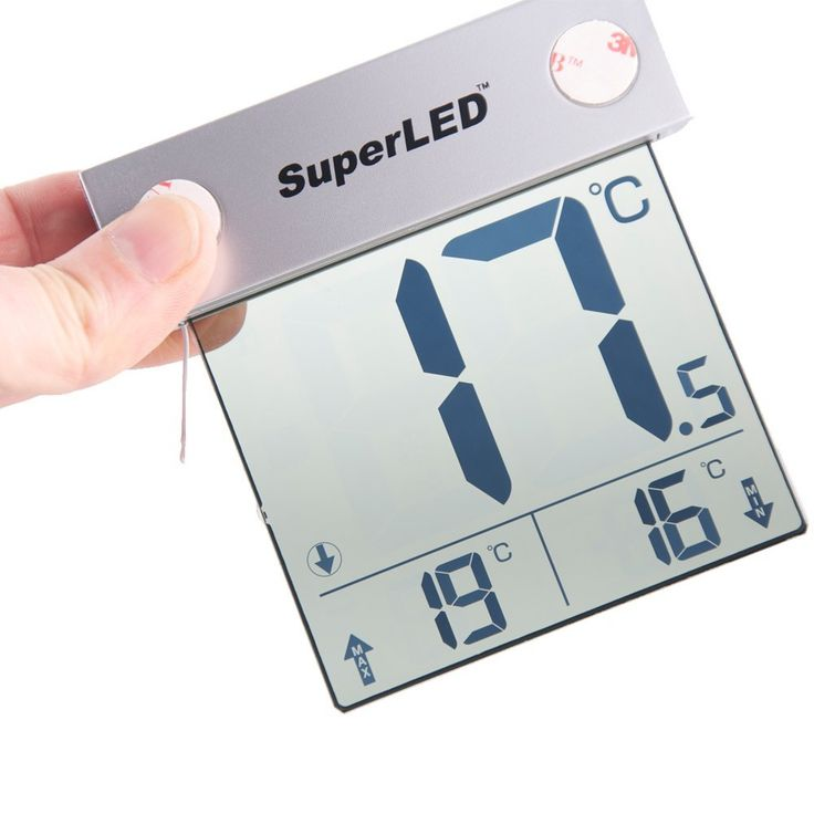 SuperLED-Solar-Digital Window Thermometer-LED Thermometer-Window-Outdoor-LED