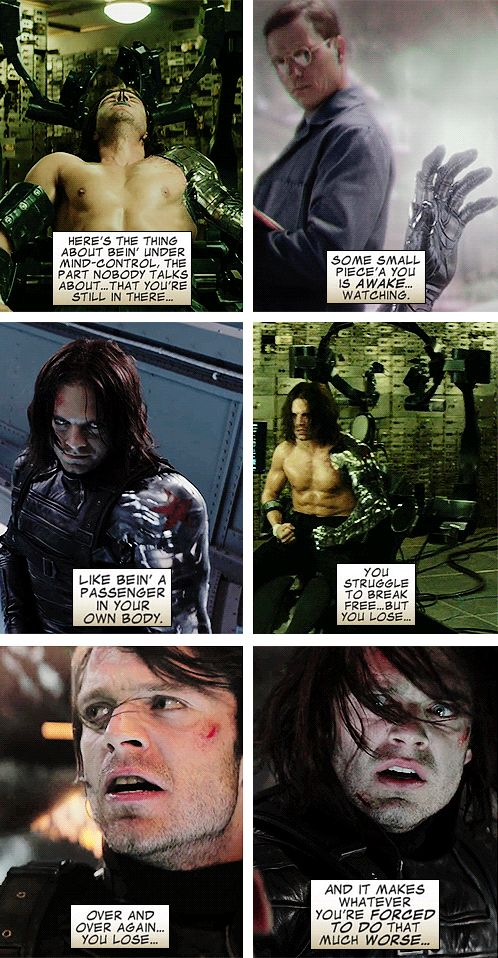 Do you know what it's like to be unmade? | Wolverine describing mind control (from Winter Soldier: Broken Arrow). Thanks, guys. I didn't think you could make that comic (original image was of a mind-controlled Bucky trying to make himself jump off a roof) any more heartbreaking ...