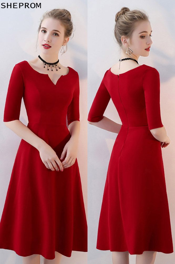 $77, Simple Burgundy Aline Knee Length Party Dress with Sleeves #BLS86057 at She…