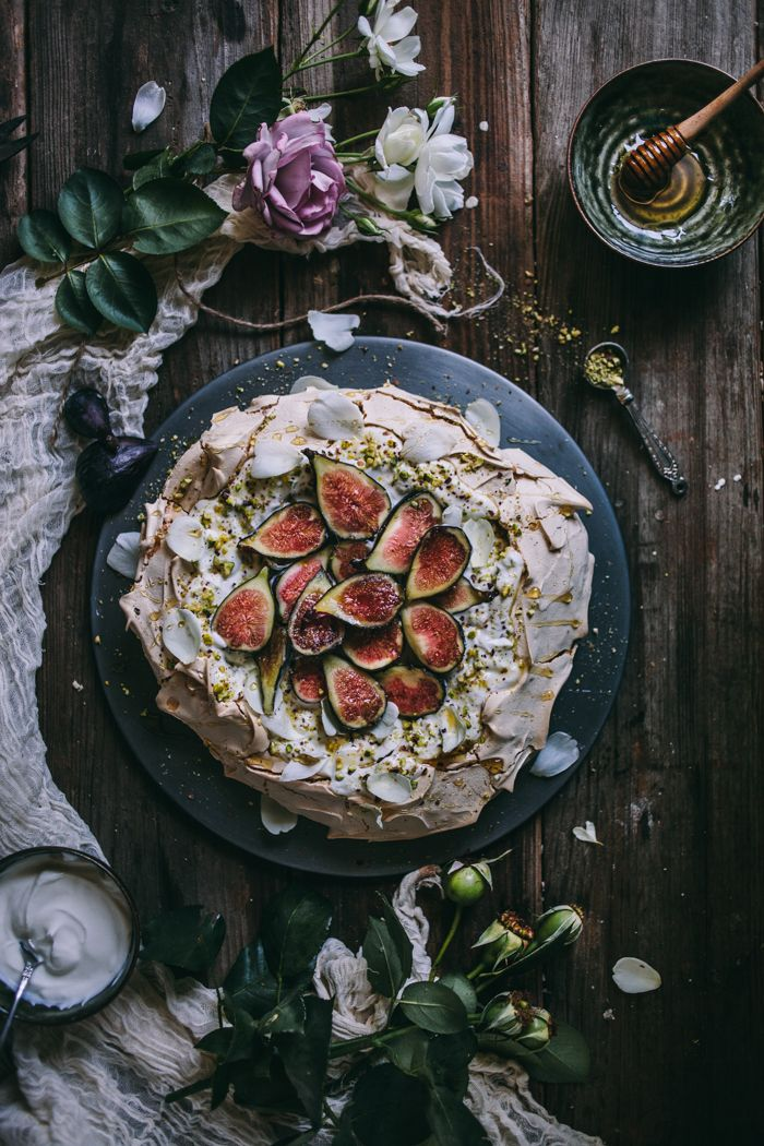 Pistachio and Rose Water Pavlova with Greek Yogurt, Honey, and Figs