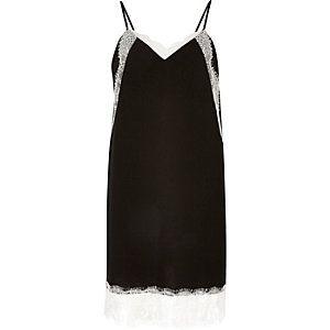 Black lace detail slip dress