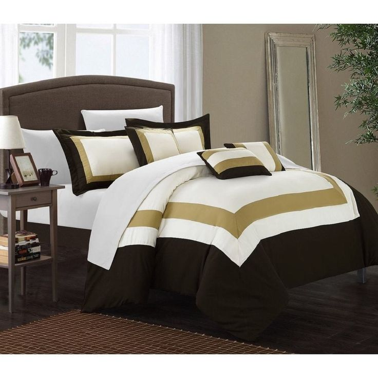 10 Piece KING White Gold Brown Bed in a Bag Comforter Set With Sheet Set