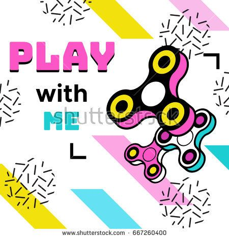Fidget spinner poster in trendy 80s-90s memphis style with geome