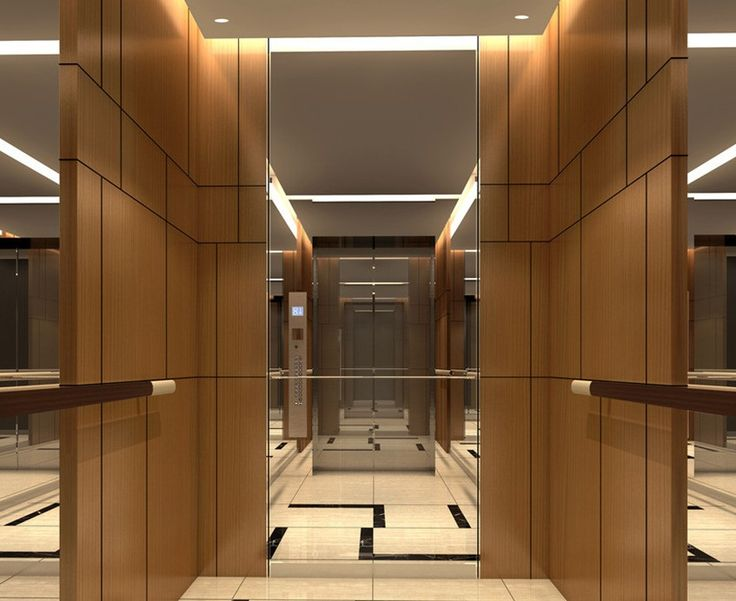 Minimalistic hotel elevator hall design 3D rendering