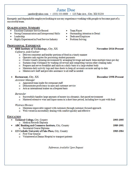 Resume Examples For Bartender Server Bartender Resume Sample
